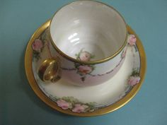 W.G. Co. Wm Guerin LIMOGES FRANCE Cup And Saucer Pink Roses Double Loop Handle | Pottery & Glass, Pottery & China, China & Dinnerware | eBay!