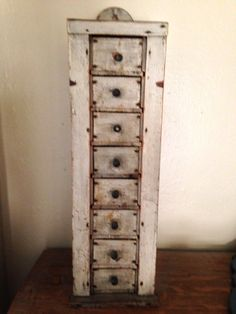 Primitive Painted Antique Wood - Spice / Apothecary/chest - With Drawers