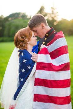 Romantic American wedding. Love her hair