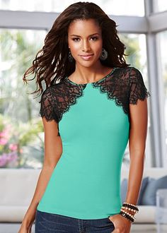 Mint (BGGR) Lace Sleeve Top $24 With luxuriously scalloped lace sleeves, this top is your seductive statement just waiting to happen. · Sizes: XS (2), S (4-6), M (8-10), L (12-14), XL (16) · Viscose/elastane; lace: poly. Imported · Style #Z44318
