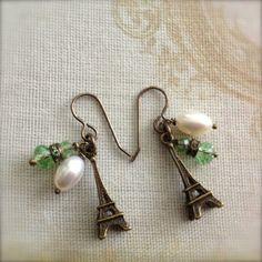 Paris Earrings Eiffel Tower Earrings with by chichigemmes on Etsy