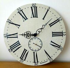Vintage Wooden Wall Clock, White, Roman Numerals