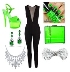 """Feeling Green"" by jamayaj369 ❤ liked on Polyvore featuring Pleaser, Oui, Odile!, Bling Jewelry and Monsoon"