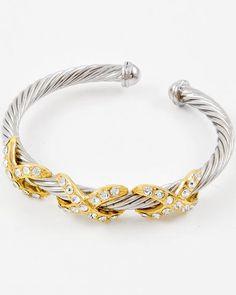 Two-tone Metal / Clear Rhinestone / Lead Compliant / Cuff Bracelet