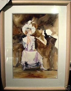 Australian Artist Veronica Robilliard's original watercolour titled 'The Actress & The Director'. Veronica Robilliard was just ten months old when her parents left Kent in the UK and brought her to Australia. Australian Artists, Veronica, Watercolour, Have Fun, Actresses, Painting, Pen And Wash, Female Actresses, Watercolor Painting