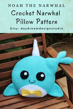 Noah the Narwhal is a crochet pillow that is perfect for a baby's nursery or kids bedroom. He makes for an adorable crochet baby shower gift or present for your child. Crochet Whale, Crochet Pillow Pattern, Baby Afghan Crochet, Crochet Patterns Amigurumi, Crochet Hooks, Pillow Patterns, Irish Crochet, Whale Pillow, Crochet Christmas Trees