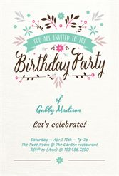 Flat Floral - Free Printable Birthday Invitation Template | Greetings Island