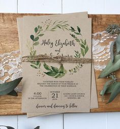 Modern greenery design on rustic kraft is perfect for your, rustic, chic wedding! Impress your wedding guests with this gorgeous & professionally designed custom wedding invitation suite featuring a stunning combination of a calligraphy font, beautiful marsala floral design, and twine
