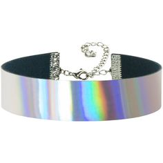 Adjustable Rainbow Hologram Holographic Choker 3/4 inch (20mm) (33 BRL) ❤ liked on Polyvore featuring jewelry, necklaces, adjustable necklace, rainbow choker, rainbow jewelry, polish jewelry and hologram necklace