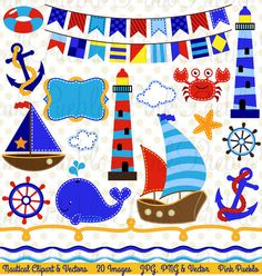 Nautical Clipart Clip Art Marine Sailing Boat Ship von PinkPueblo