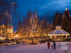 Leavenworth Ice Festival with Gazebo and City Park, Leavenworth, Washington, USA Photographic Print