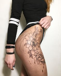 by Ira Shmarinova #tattoo #flowers #legs