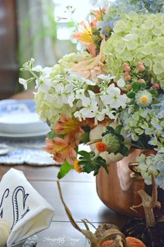 Blue and White with Copper Fall Tablescape Fall Flowers, Large Flowers, Floral Centerpieces, Flower Arrangements, Pontoon Boating, Monogrammed Napkins, Velvet Pumpkins, Welcome Fall, Floral Foam