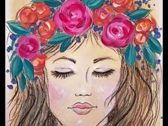Bohemian Girl with Flowers Acrylic Painting   Live Beginner Art Lesson  ...
