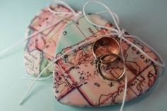 Wedding Ring Bearer Pillow Idea With Hearts Of Map Hearts of map are great for a travel-themed wedding, this is a simple craft you can make in minutes. Ring Holder Wedding, Ring Pillow Wedding, Wedding Rings, Ring Holders, Wedding Bells, Ring Bearer Pillows, Ring Pillows, Cute Wedding Ideas, Wedding Inspiration