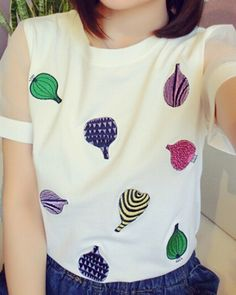 2015 newest onion embroidered t shirts for girls stitching net yarn short sleeve tee-