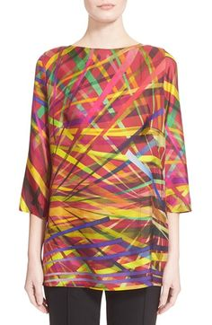 ESCADA 'L.A. Lights' Print Silk Tunic available at #Nordstrom