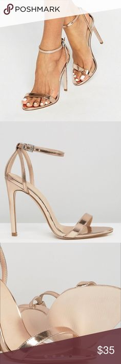 """ASOS HIGH FIVE Heeled Sandal Brand new never been used...Uk 2                                       Faux-leather straps Ankle-strap fastening Open toe High heel Heel height: 11cm/4""""                                                      Color is Nude Metallic ASOS Shoes Heels"""