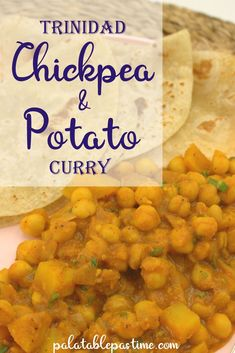 Chickpea and potato curry (or chana aloo) is made with tender potato and garbanzo beans in a spicy sauce, done in the style of Trinidadian cuisine. Garbanzo Bean Recipes, Chickpea Recipes, Trinidadian Recipes, Guyanese Recipes, Uncooked Tortillas, Chickpea And Potato Curry, Caribbean Recipes, Caribbean Food, Chana Recipe