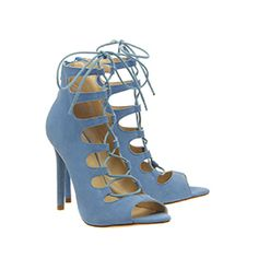 Office Parisian Lace Up Ghilly Sandal New Blue Suede - High Heels
