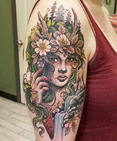 Gaia by Angel Emr at Studio 13 in Orlando, FL : tattoos Greek Goddess Tattoo, Gaia Goddess, Greek Mythology Tattoos, Nature Tattoo Sleeve, Nature Tattoos, Body Art Tattoos, Tatoos, Mother Earth Tattoo, Mother Tattoos