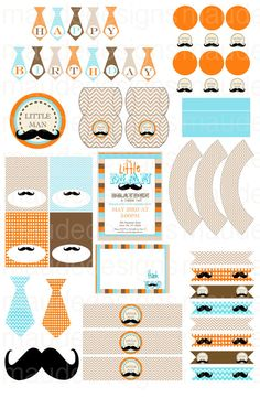 Printable LITTLE MAN MUSTACHE Party Pack. Mustache tie party, little boy birthday, baby boy shower party