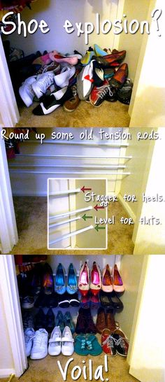 Tension Rods for Shoes ~ Stagger for Heels, Level for Flats