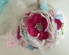 Baby Girl Headband Flower Girl Headband por AvryCoutureCreations