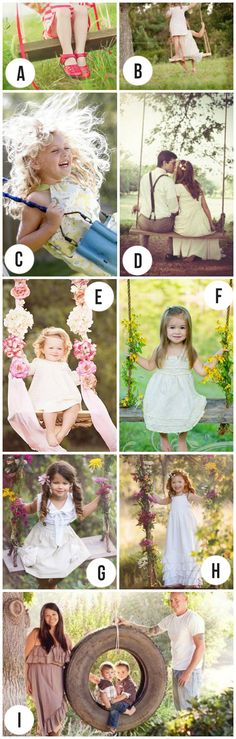 Darling spring photography ideas.  I love how the swing adds movement and playfulness to the photo.