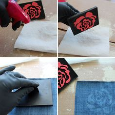 stamp with bleach - estamparia com alvejante -  Upcycle Your Old Jeans into Chic Cocktail Napkins via Brit + Co.
