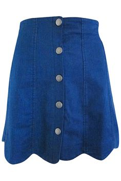 Scalloped Button Front Denim Skirt #shoppitaya