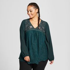 Women's Plus Size Embroidered Lace Top - Xhilaration Dark Green 3X