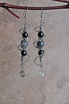 Copper Wire Earrings Silver Spiral Cage by JeanneAshleyJewelry, $18.00