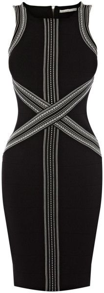 Tribal Graphic Stripe Bandage Dress - Lyst