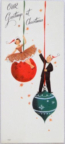 #1135 50s Rust Craft-Couple on the Tree Ornaments- Vtg Christmas Greeting Card