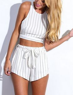 HOT STRIPE WHITE TWO PIECE SUIT