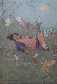 Jahrgang Kinder Print - Margaret Tarrant - Alice und ihr Fairy Traum - Fairy Ring - Winged Fairies - Giftpilze - verfilzt - bereit zum Frame