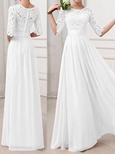 b56dd45304 White Plain Patchwork Lace Hollow-out Long Sleeve Bridesmaid Elegant Prom  Wedding Registry Office Maxi Dress - Maxi Dresses - Dresses -