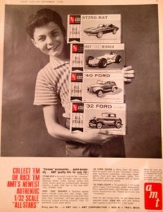 Vintage 1964 AMT model kits advertisement - 32 Ford, 40 Ford, Indy 500 Winner, Corvette Stingray - kytradeco.com