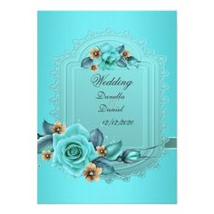 Elegant Wedding Teal Blue Beige Roses Flowers 2