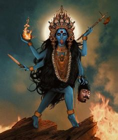 Mahakali, literally translated as Great Kali, is the Hindu goddess of time and death, considered to be the consort of Mahakala, the god of… Goddess Kali Images, Maa Kali Images, Indian Goddess Kali, Durga Images, Lord Shiva Hd Images, Goddess Art, Goddess Lakshmi, Indian Gods, Maa Kali Photo
