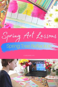 Perfect for commemorating spring, Nana's spring art celebration with chalk pastels explores all creatures great and small and all things bright and beautiful! These nature-inspired art lessons are easy and fun for the whole family! #youareanartist #springart #youareanartistclubhouse Long Neck Dinosaur, Reflection Art, Spring Quotes, Spring Tree, Unique Paintings, Chalk Pastels, World Of Color, Art Tutorials, Art Lessons