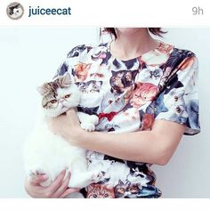 @juiceecat wearing a #Catmina T-shirt! The has so many smushfaces on it.  Available at http://ift.tt/1CABkPD  #tshirt #cats