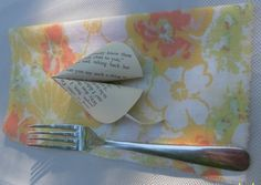 cloth napkins made from old bed sheets & paper fortune cookies =  awesome table settings