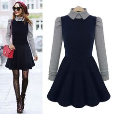 Peter Pan Collar Contrast Color Flounce Hem Draped Bodycon Slim Dress I want this