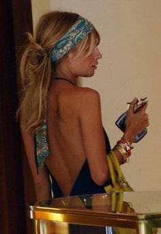 Bohemian style headband + low back dress