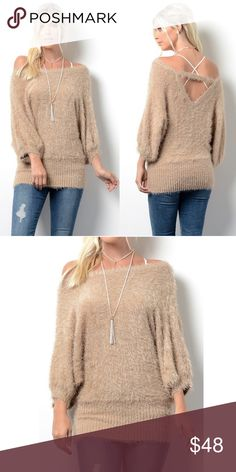 STASSIE uber soft shaggy sweater top - MOCHA SUPER SOFT FURRY SWEATER  65% Polyester 35% Acrylic NO TRADE, PRICE FIRM Bellanblue Tops