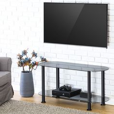 Fitueyes Classic Grey Tempered Glass Tv Stand Suit for up to 46-inch LCD LED Oled Tvs TS210001GB