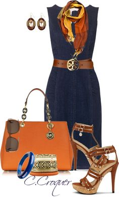 Basic denim dress paired with bright DYT Type 3 accessories make a pretty fantastic outfit. Summer Outfits, Casual Outfits, Cute Outfits, Fashion Outfits, Womens Fashion, Mode Style, Style Me, Classic Style, Work Fashion