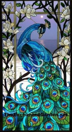 SPECTACULAR PEACOCK & MAGNOLIAS LOTUS FLOWER 17x37 ART GLASS WINDOW WALL PANEL in Collectibles | eBay